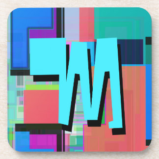 Fun Colorful Turquoise Blue Geometric Monogram Coaster