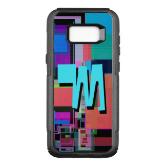 Fun Colorful Turquoise Blue Geometric Monogram OtterBox Commuter Samsung Galaxy S8+ Case