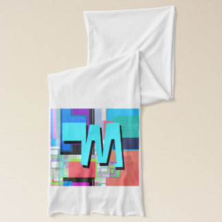 Fun Colorful Turquoise Blue Geometric Monogram Scarf