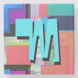Fun Colorful Turquoise Blue Geometric Monogram Stone Coaster