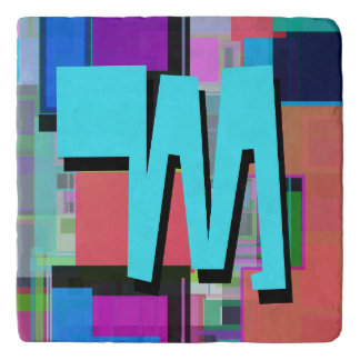 Fun Colorful Turquoise Blue Geometric Monogram Trivet