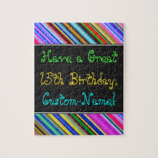 Fun, Colorful, Whimsical 15th Birthday Puzzle
