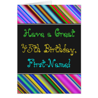 Fun, Colorful, Whimsical 45th Birthday Card