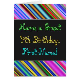 Fun, Colorful, Whimsical 4th Birthday Card