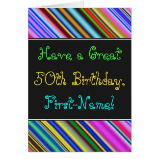 Fun, Colorful, Whimsical 50th Birthday Card