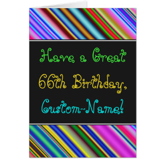 Fun, Colorful, Whimsical 66th Birthday Card
