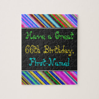 Fun, Colorful, Whimsical 66th Birthday Puzzle