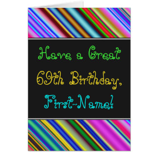 Fun, Colorful, Whimsical 69th Birthday Card