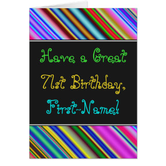 Fun, Colorful, Whimsical 71st Birthday Card