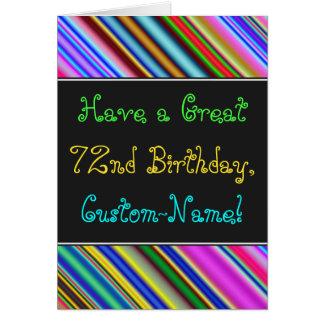Fun, Colorful, Whimsical 72nd Birthday Card