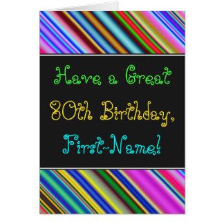 Fun, Colorful, Whimsical 80th Birthday Card
