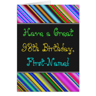 Fun, Colorful, Whimsical 98th Birthday Card