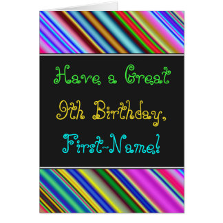 Fun, Colorful, Whimsical 9th Birthday Card