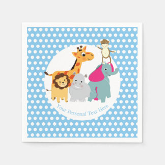 Fun Colorful Whimsy Zoo Animals Cute Paper Napkin