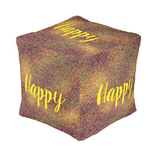 Fun Colourful Abstract Pattern Yellow Word Happy Pouf