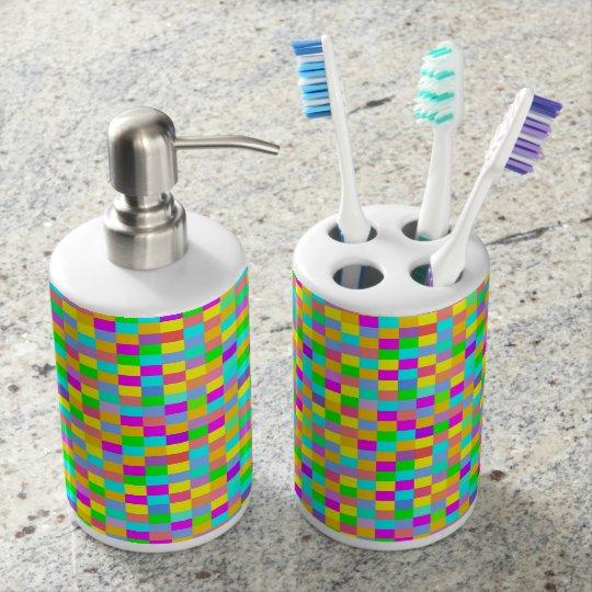 Fun colourful chequered bath accessory set