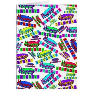 Fun Colourful Dynamic Retro Happy Birthday Pattern Card