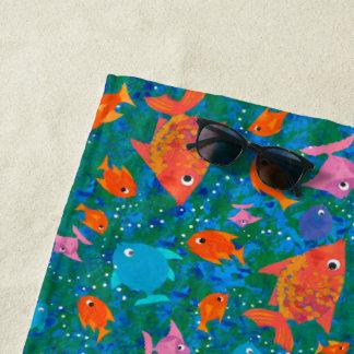 Fun Colourful Fish  on Ocean Blue and Green Beach Towel