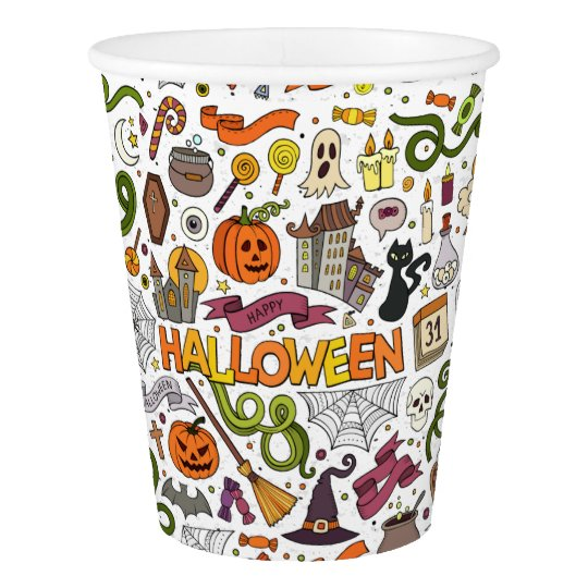 Fun Colourful Halloween Theme Party Paper Cups
