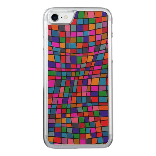 Fun Colourful Mosaic Tiles Pattern Carved iPhone 7 Case
