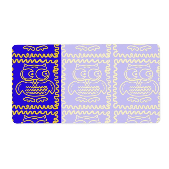 Fun Colourful Owls Blue Yellow ZigZag Pattern Shipping Label