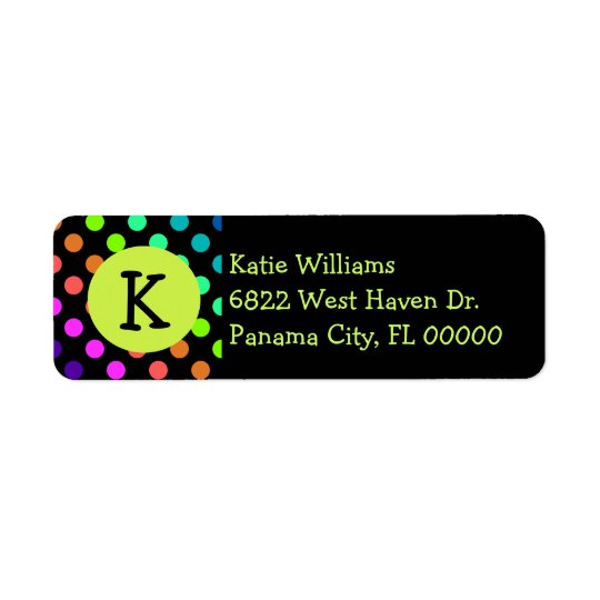 Fun Colourful Polka Dots With Monogram Return Address Label