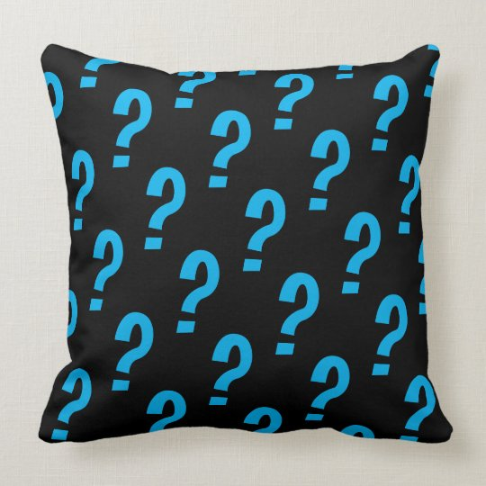 Fun Colourful Question Mark Pattern on Black Throw Pillow