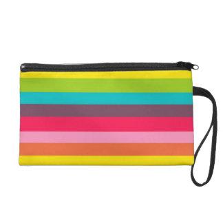 Fun Colourful Rainbow Stripes Girly Colour Pattern Wristlet