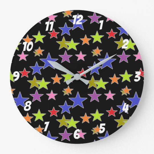 Fun Colourful Star Pattern on Black Large Clock