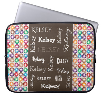 Fun Contemporary Abstract w/Name Laptop Sleeve