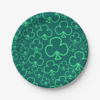 Fun Cool and Unique Pattern of Neon Shamrocks 7 Inch Paper Plate