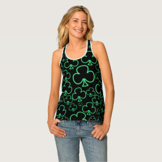 Fun Cool and Unique Pattern of Neon Shamrocks Tank Top