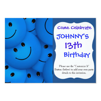 "Fun Cool Happy Blue Smiley Faces 5"" X 7"" Invitation Card"
