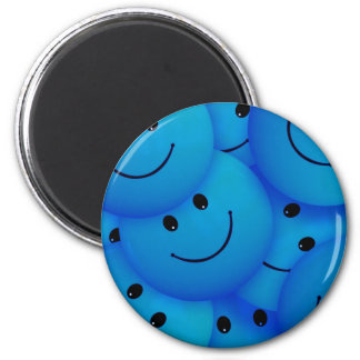 Fun Cool Happy Blue Smiley Faces Magnet