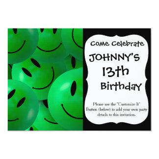 "Fun Cool Happy green Smiley Faces 5"" X 7"" Invitation Card"