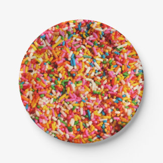 Fun Cool Multi Colored Candy Sweets Sprinkles Paper Plate
