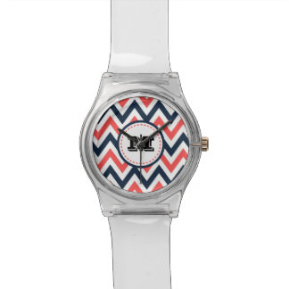 Fun Coral & Navy Chevron Pattern with Monogram Watch
