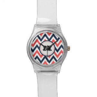 Fun Coral & Navy Chevron Pattern with Monogram Wrist Watches