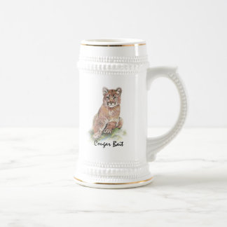 "Fun ""Cougar Bait "" with Watercolor Animal Beer Stein"