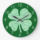 Fun Counties of Ireland Shamrock Large Clock