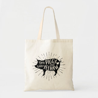 Fun Country Pig Design Tote Bag - Black on Canvas