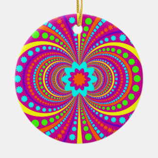 Fun Crazy Pattern Hot Pink Orange Teal Ceramic Ornament