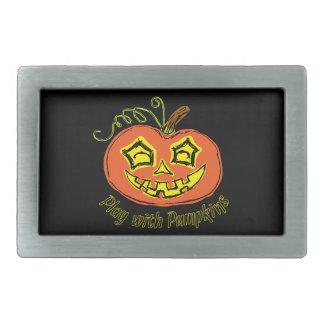 Fun & Creepy Orange Play Pumpkin Belt Buckles