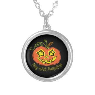Fun & Creepy Orange Play Pumpkin Silver Plated Necklace