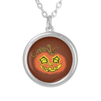 Fun & Creepy Orange Pumpkin Silver Plated Necklace