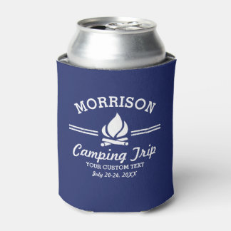 Fun Custom Camping Trip Campfire Blue Can Cooler