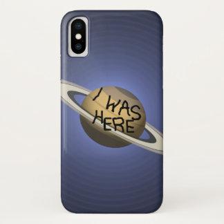 Fun Custom Saturn Planet - I was here ! iPhone X Case