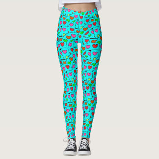 Fun Cute and Colorful Hearts Pattern on Turquoise Leggings