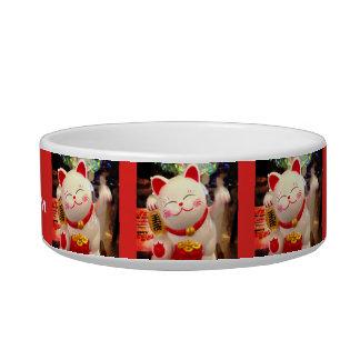 Fun, Cute Chinese Waving Cat Photo Custom Name Pet Bowl