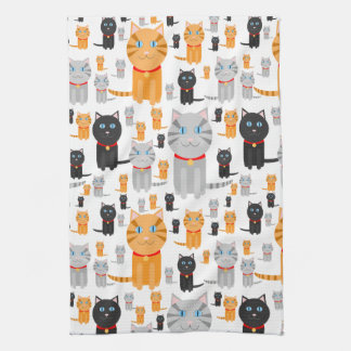 Fun Cute Collage of Orange, Gray, and Black Cats Kitchen Towel